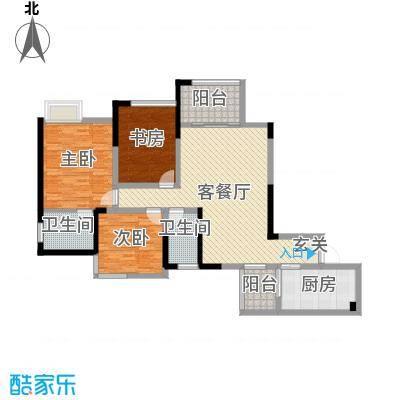 中元广场127.10㎡J户型3室2厅2卫1厨