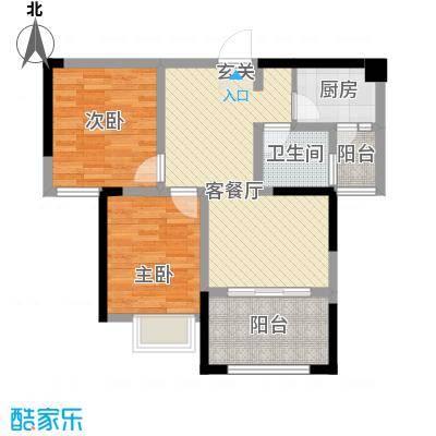 中元广场7.15㎡K户型2室2厅1卫1厨