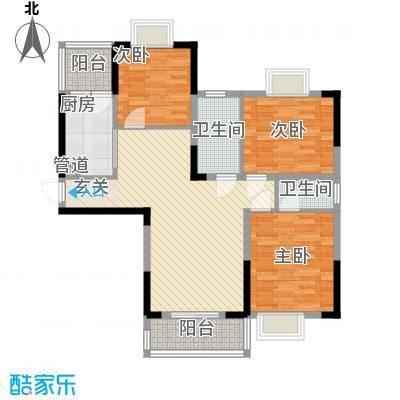 上海城黄浦花苑二期86.20㎡E-户型3室2厅2卫