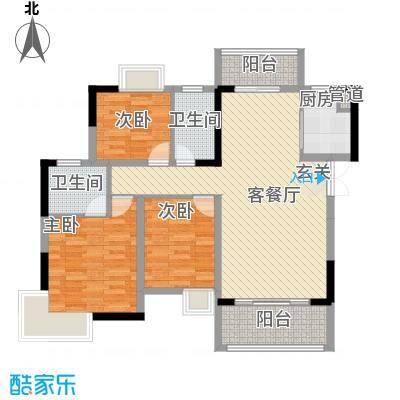 梓山湖领御117.30㎡平面图7-01户型3室2厅2卫1厨