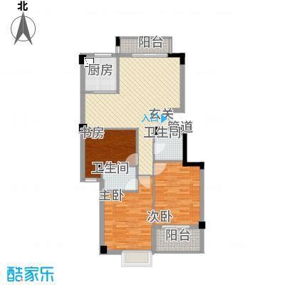 东城国际二期1.20㎡E9#02单元3室户型3室2厅2卫1厨