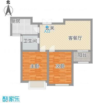 中汇城・御园88.00㎡D2户型2室2厅1卫1厨