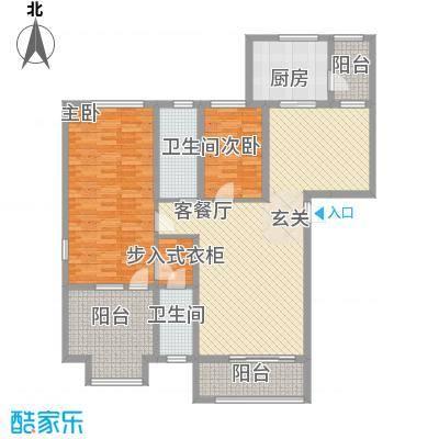 中汇城・御园14.00㎡B'户型2室2厅2卫1厨