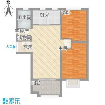 中汇城・御园16.00㎡D3户型2室2厅1卫1厨