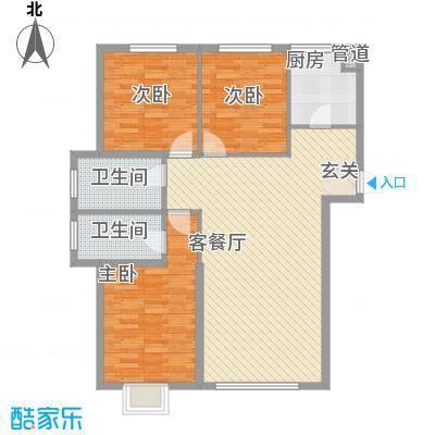 东湖凤还朝124.41㎡阳光大三居户型3室2厅2卫1厨