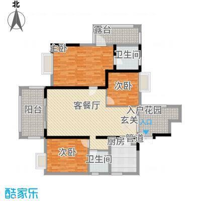 明源国际三期1135.27㎡I1户型3室2厅2卫1厨