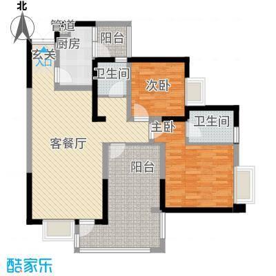 明源国际三期37.85㎡K3户型2室2厅2卫1厨