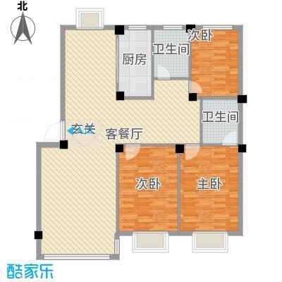 锦城・四月天123.12㎡D2户型3室2厅2卫