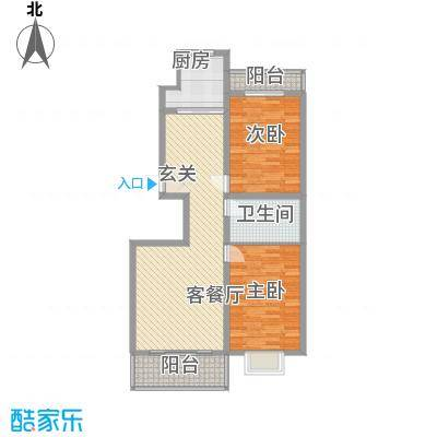 东安佳苑2211.25㎡f户型2室2厅1卫1厨