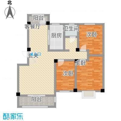 天籁华都116.00㎡F区多层户型3室2厅1卫1厨
