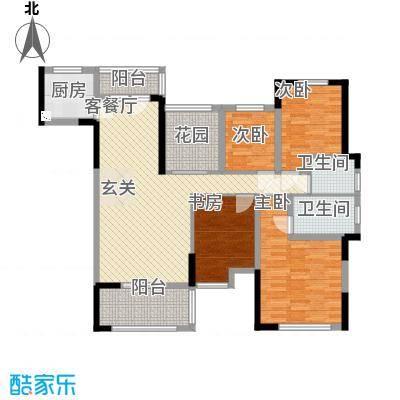 大楚城138.00㎡一期4栋F2户型4室2厅2卫