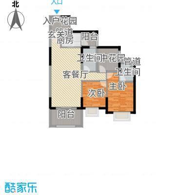 天湖御林湾31.25㎡H-3户型2室2厅2卫1厨