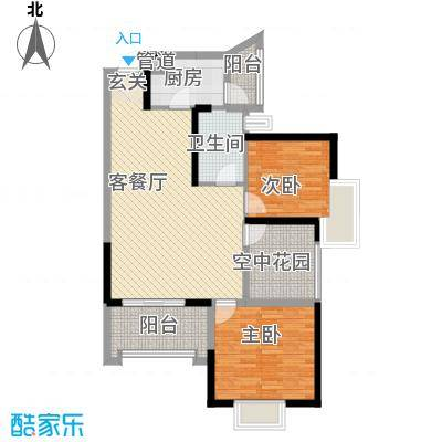 天湖御林湾34.26㎡G-3户型2室2厅1卫1厨