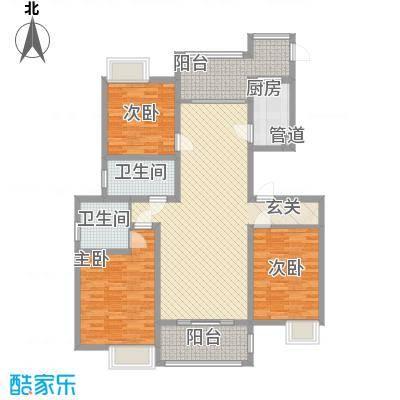 枫�398A区3期128.75㎡G户型3室2厅2卫1厨