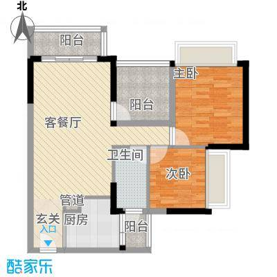 富通自在城85.00㎡7栋1单元04、2单元03户型3室2厅1卫1厨
