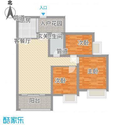 枫�398A区3期12.22㎡D3户型3室2厅1卫1厨