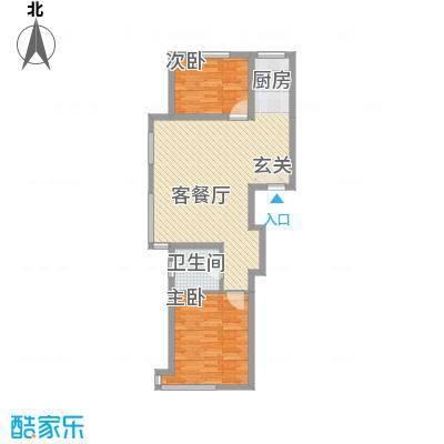 联发・香水湾83.71㎡二期K户型2室2厅1卫1厨