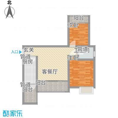 枫�398A区3期78.11㎡BB1户型2室2厅1卫1厨