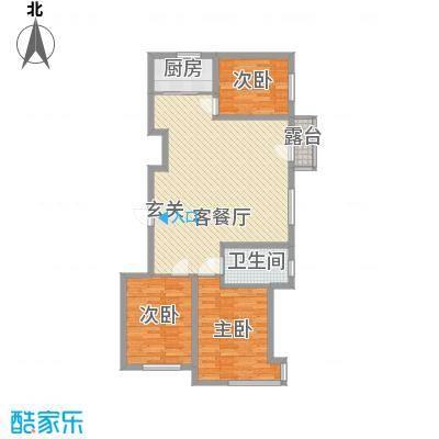 联发・香水湾18.58㎡二期N户型3室2厅1卫1厨