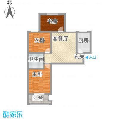 离石文华苑3.20㎡B户型3室2厅1卫1厨