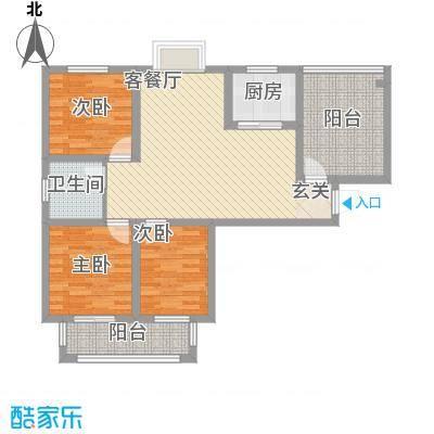汇景花园1.84㎡A户型3室2厅1卫1厨