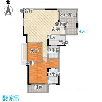 万科棠樾128.00㎡陶山居B1户型2室2厅2卫1厨