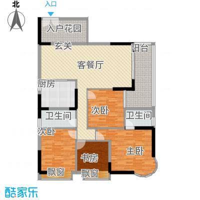 波海蓝湾三期D6幢02单元户型4室2厅2卫1厨