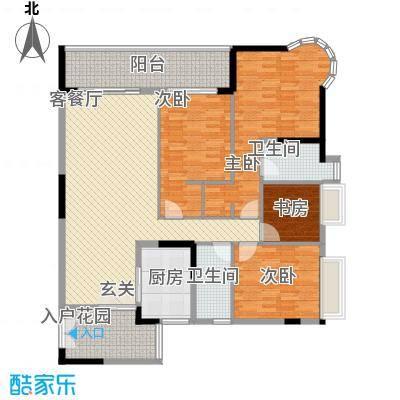 波海蓝湾三期D8幢01单元户型4室2厅2卫1厨