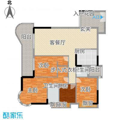 波海蓝湾三期D6幢03单元户型4室2厅2卫1厨