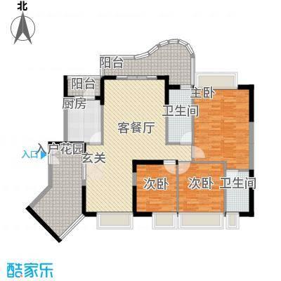 波海蓝湾三期D7幢02单元户型3室2厅2卫1厨