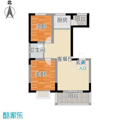 明泽园5.51㎡D户型2室2厅1卫1厨