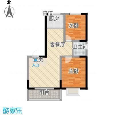 明泽园1.31㎡E户型2室2厅1卫1厨