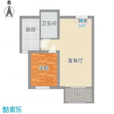 铂金水岸6.24㎡3a户型1室2厅1卫1厨