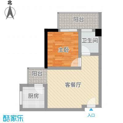 凯信水韵滨江二期公园大帝51.50㎡Y户型1室2厅1卫1厨