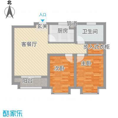 渤海・青青家园85.00㎡B1户型2室2厅1卫1厨