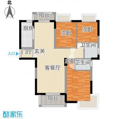 御天城跃龙苑128.36㎡D2户型3室2厅2卫1厨