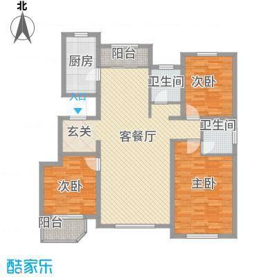 新东方冠军城E区135.00㎡A户型3室2厅2卫1厨