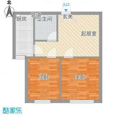 宏业枫华58.00㎡户型2室1厅1卫