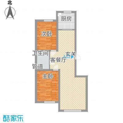宏业枫华6.00㎡户型2室2厅1卫
