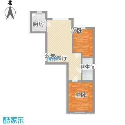宏业枫华77.00㎡户型2室1厅1卫