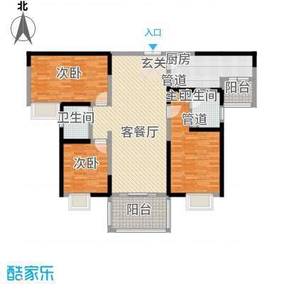 天润碧海湾132.80㎡B栋03户型3室2厅2卫1厨