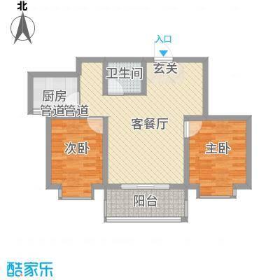 锦绣鹏城07户型2室2厅1卫