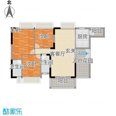 波海蓝湾三期D8幢03单元户型3室2厅2卫1厨