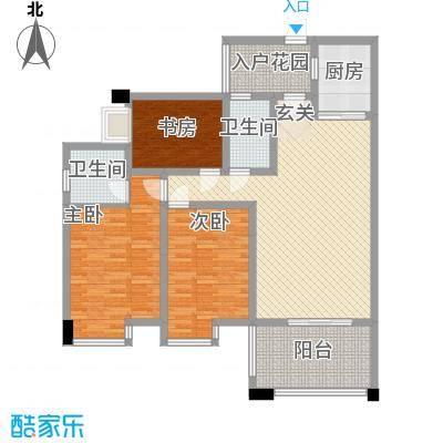 中玮海润广场131.71㎡5栋4、5号房户型3室2厅2卫1厨