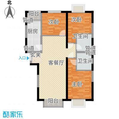 滨江壹号住宅123.65㎡户型3室2厅2卫