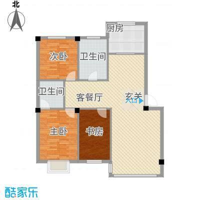 锦城・四月天123.12㎡D1户型3室2厅2卫