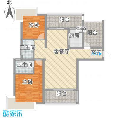 凯�清华园112.50㎡D1户型3室2厅2卫1厨