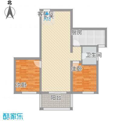 富友名族大厦3.76㎡B户型2室2厅1卫1厨