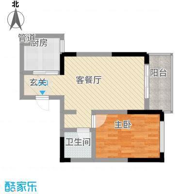 瑞金福邸58.38㎡06户型1室1厅1卫1厨