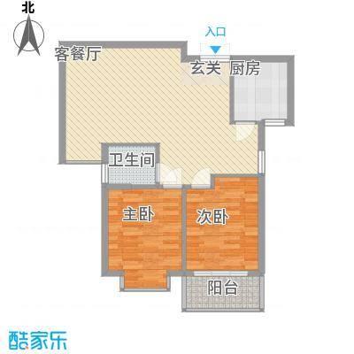 盛世豪庭85.10㎡F-1户型2室2厅1卫1厨